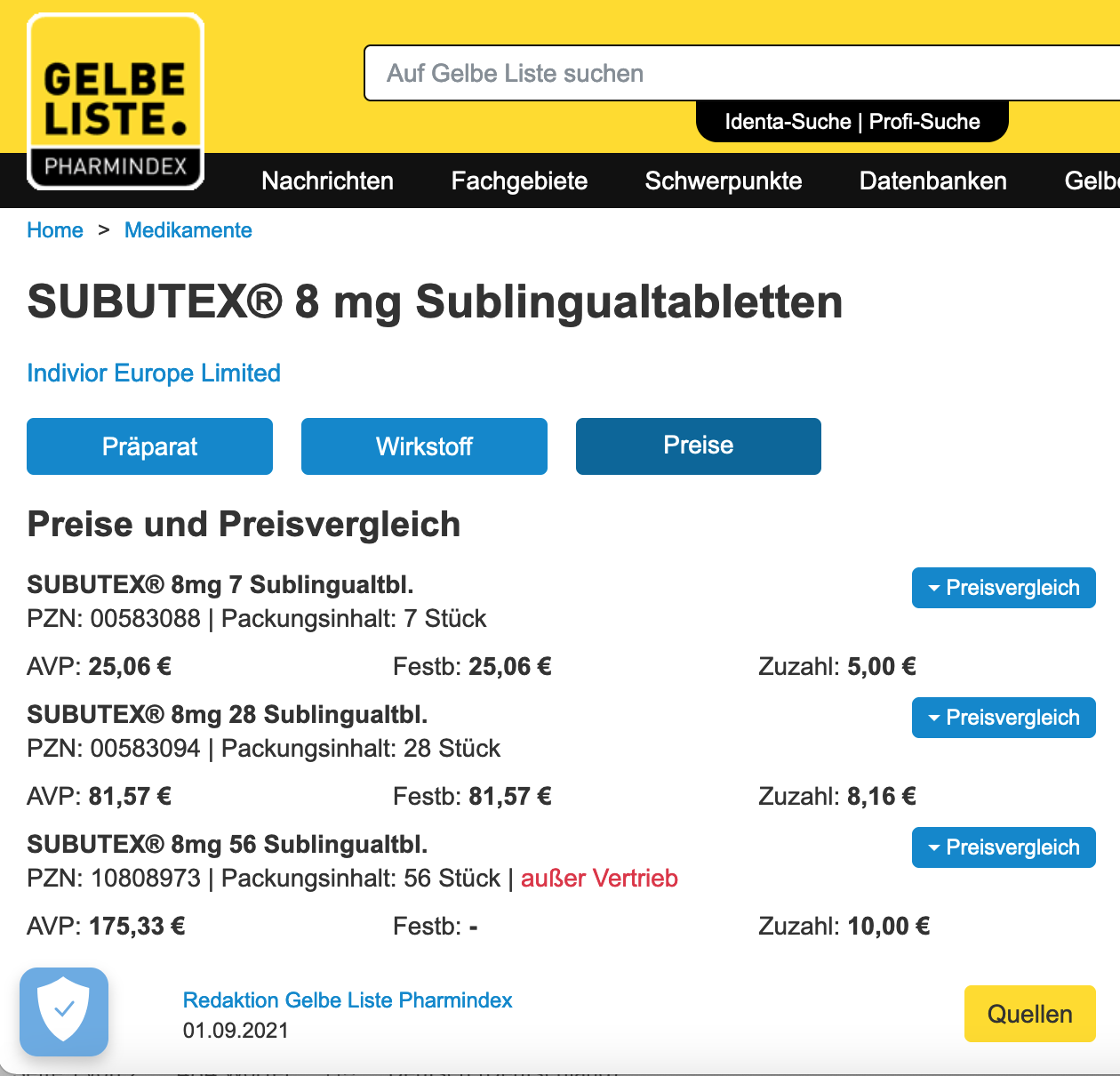 Subutex 8mg Sl Tbl 56 Stuck Gelbe Liste 01.09.2021